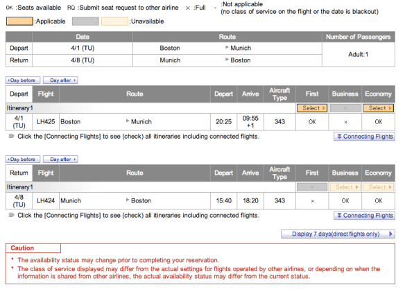 Fig 5. ANA displaying Star Alliance partner space, look up the airline code on Wikipedia if necessary