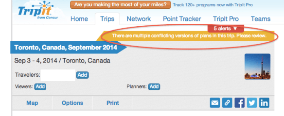 Tripit will pick up schedule changes as conflicting reservations