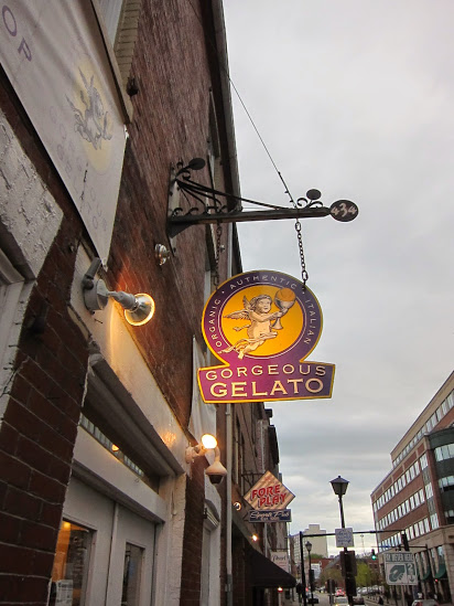 Gorgeous Gelato is right across the street from the Hyatt Place while Gelato Fiasco is half a block down