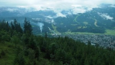 The view of Garmisch-Partenkirchen from our cable car up Mount Wank