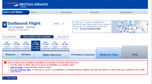 British Airways doesn't show any space from LAX to Rome