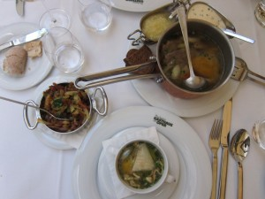 The Tafelspitz starts with the beef still in a bowl and a soup (the third thing is fried potatoes)