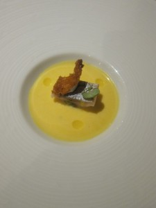 The amuse bouche was a small piece of cod(?) in a root vegetable soup - delicious
