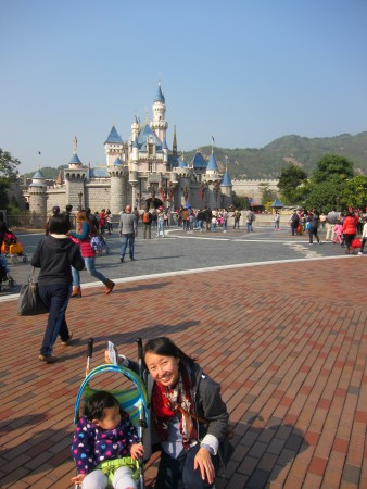 The castle looks a lot smaller in Hong Kong - the optical illusion isn't as well done