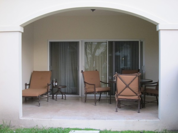 The ground floor patio had easy access to outside