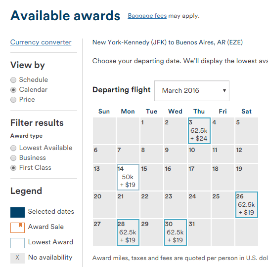 Look at that, an award calendar for partners that includes pricing and can be filtered by cabin class!