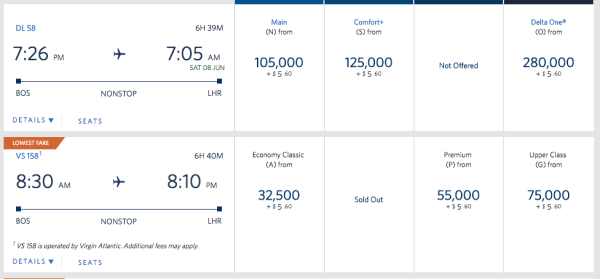 Delta Dynamic award pricing - you can find super low and super valuable awards if you look closely