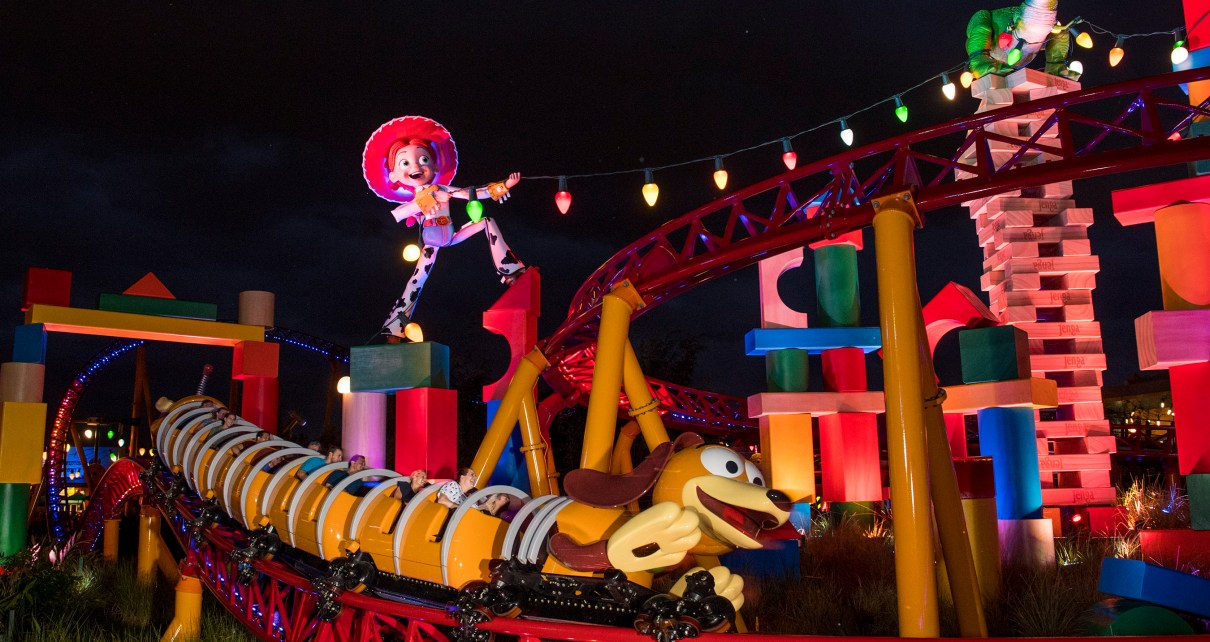 Toy Story Land - Slinky Dog Dash at night David Roark, photographer