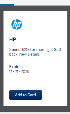 10-27-15  Working the HP $50 back on $250 Amex Sync offer for up to a 24% return; Portals; $20 to join Upromise