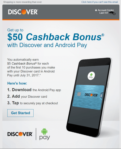 Get up to $50 cashback with Discover Android Pay