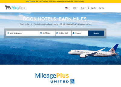 Earn 10,000 United Miles per night with PointsHound