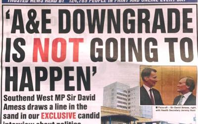 """Echo story: Southend Hospital's A&E """"will 100 per cent"""" not be downgraded, MP promises"""