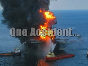 The Deepwater Horizon rig, owned and operated by offshore oil-drilling company Transocean and leased by oil company BP - April 20, 2010 (image courtesy of wikipedia.org)