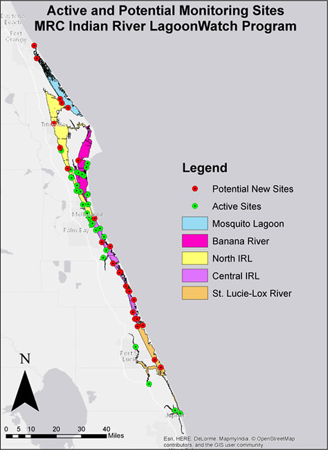 Active and Potential Monitoring Sites: MRC Indian River LagoonWatch Program