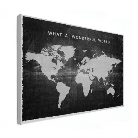 Wereldkaart op canvas, mooie toevoeging in de keuken
