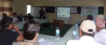 """Assistant Forest Officer (AFO), Yagyamurti Khanal, from Sector Forest Office, Butwal, has presented """"Guidelines about compensation for damage caused by the attack from wild animals""""."""