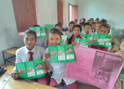 Students of various schools receiving different educational material after the awareness programs 2