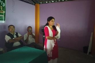 Ganga Pahari, administrator of Kaligandaki Technical School sharing her snakebite experiences to the students