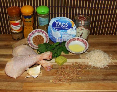 ingrédients necessaires aux cuisses de poulet tandoori