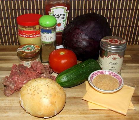 Les ingrédients pour le burger original maison