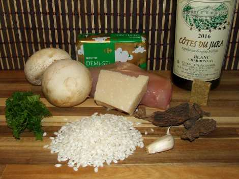 les ingrédients du risotto aux morilles