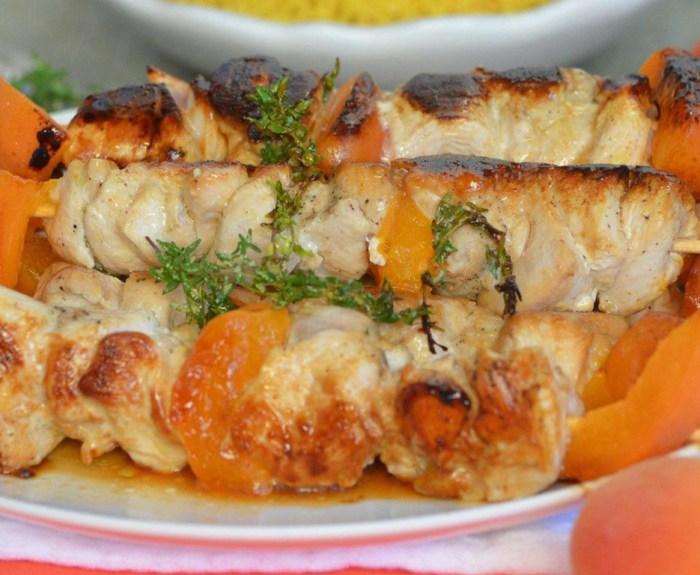 brochettes poulet abricots