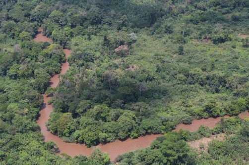 Photo MONUSCO/Myriam Asman February 2015. North-Kivu, DR Congo. Aerial view of the forest and river.