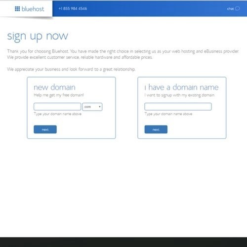 Bluehost sign up