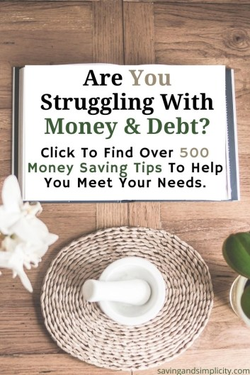 Are you struggling with money and debt?  Find over 500 money saving tips to help you meet your needs.  Frugal living tips, money saving ideas and so much more.