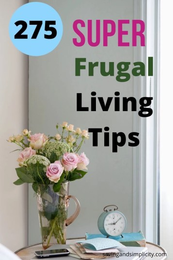 Frugal living at its best. Learn how to lower your household expenses and start saving money. Learn 275 frugal living ways to cut your household expenses.