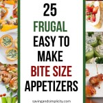 Simple yummy small bite appetizers and frugal meal ideas that are easy to prepare for kids parties, football games, New Year's Eve or holiday parties.