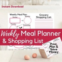 Do you struggle to get dinner on the table and under budget? Planning your weekly meals just got easier with the Weekly Meal Planner & Shopping List Printable. Download this easy to use weekly meal planner and start saving money today.