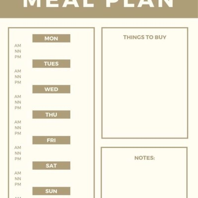 Weekly Meal Planner Option One