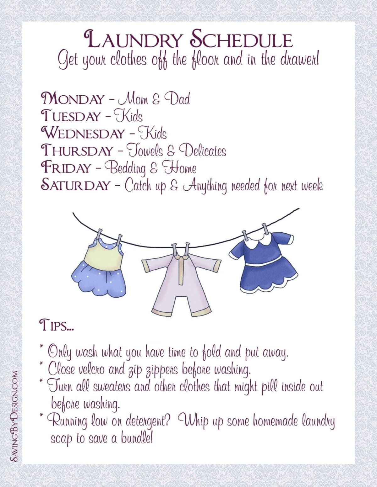 Take Back Your Life Create A Laundry Schedule To Get Your