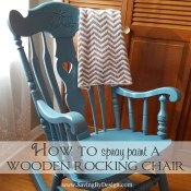 Our rocking chair was in need of a makeover for our third child...so I figured out how to spray paint a wooden rocking chair for less than $10!