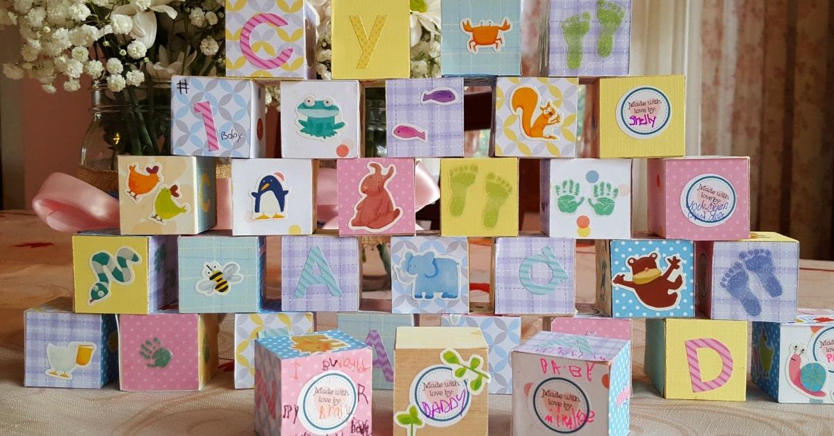 Baby Shower Arts And Crafts Part - 15: Baby Shower Craft - Wooden Baby Blocks - 1200x628