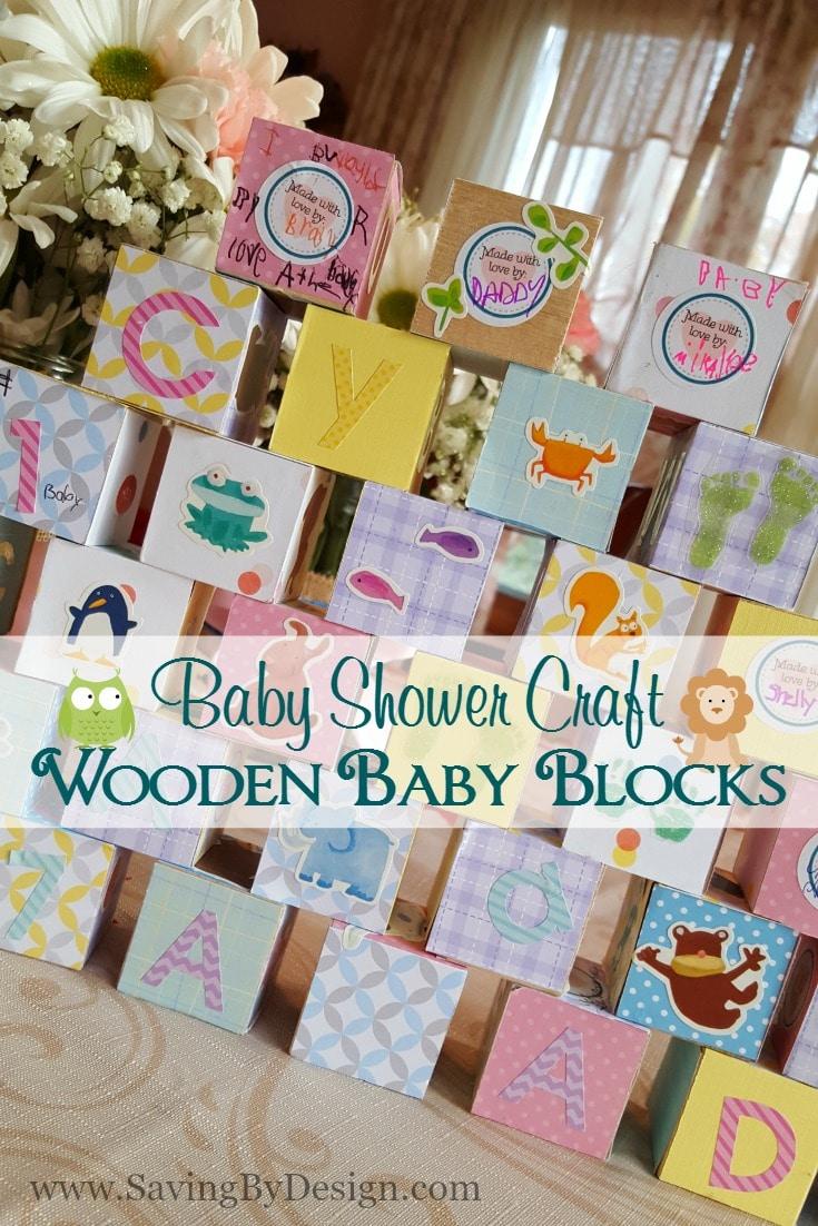 Baby Shower Craft - Wooden Baby Blocks