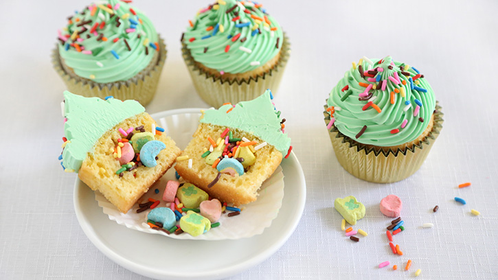 Cute Lucky Charms Surprise-Inside Cupcakes Recipe