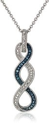 Beautiful Sterling Silver Blue and White Diamond Twist Pendant Necklace (Only $36.75)