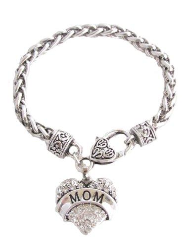 Mom Clear Crystals Fashion Lobster Claw Heart Bracelet