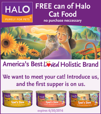 Free Can of Halo Cat Food