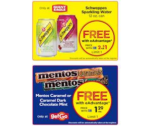 Giant Eagle & getGO - Free Schweppes & Mentos Caramels