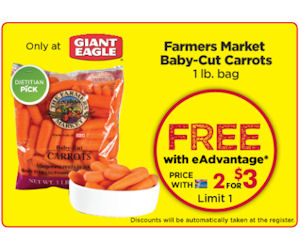 Free Bag of Farmers Market Baby-Cut Carrots at Giant Eagle