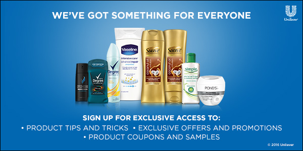 Free Unilever Multi-Brand Samples & Coupons