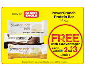 Free PowerCrunch Protein Bar at Giant Eagle