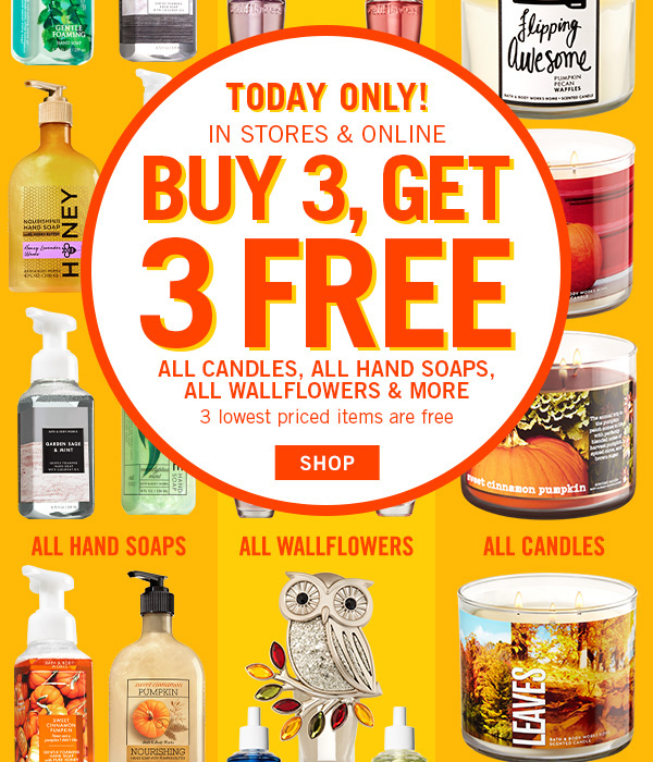 *HOT* Today Only Buy 3 Get 3 FREE At Bath & Body Works + FREE Item With $10 Purchase!