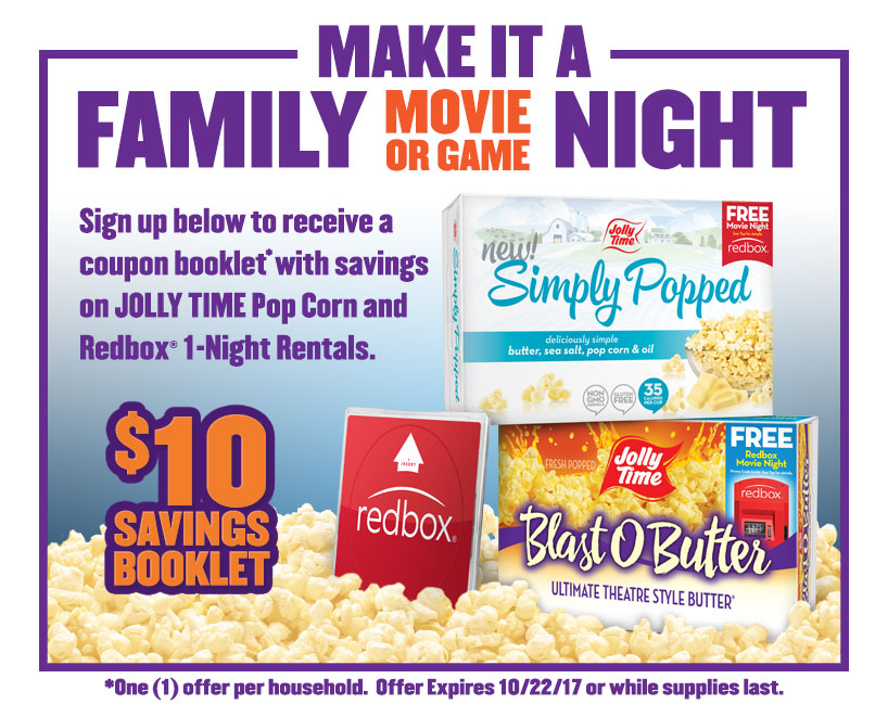Free Jolly Time and Redbox coupon booklet!