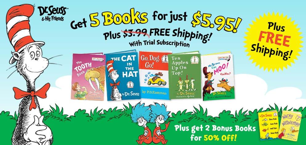 5 Dr. Seuss Books & Bookbag for $5.95 + Free Shipping