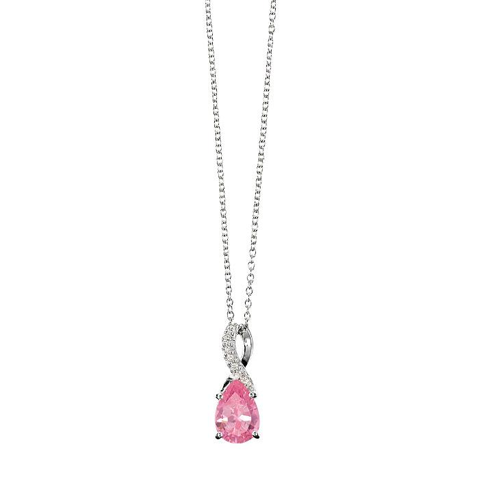 Beautiful Pink Hope Sterling Silver CZ Necklace