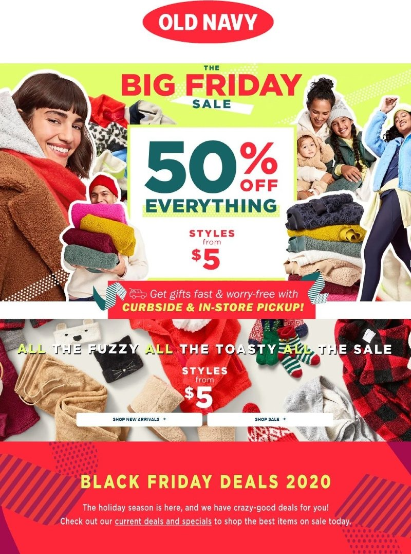 Old Navy Black Friday Happening Now 50% Off Everything!